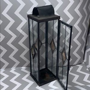 Glass Door Lantern Style Glass Candle Holder